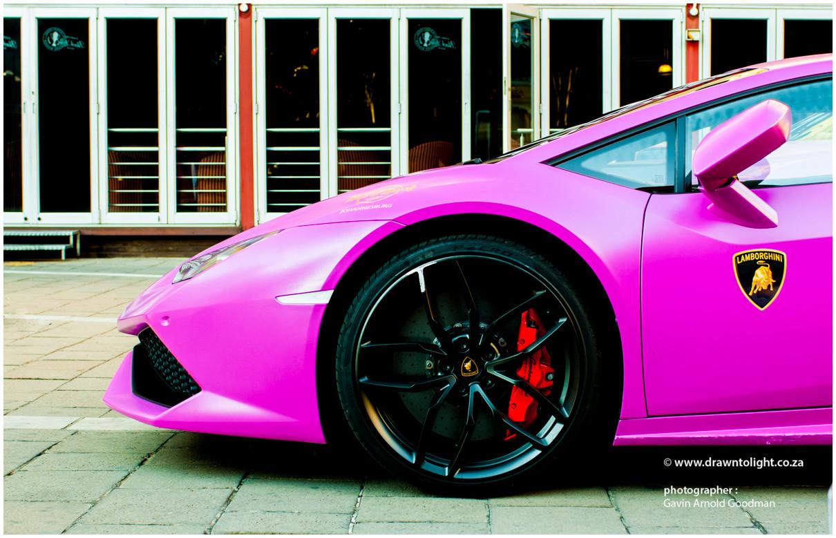 drawntolight pink Lamborghini by Gavin Arnold Goodman